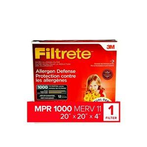 3M 20-in x 20-in x 4-in 1000 MRP Mirco Allergen Defense Electrostatic Deep Pleated Air Filter