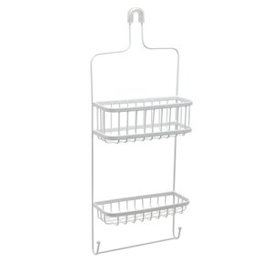 Zenith 26.13-in H Over the showerhead Steel White Hanging Shower Caddy