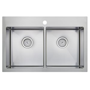 Odyssey ODYSSEY Stainless Steel 31.26 x 31.25 Stainless Steel Double-Basin Drop-in or undermount 1-Hole Commercial Kitchen Sink All-in-One Kit with Drainboard