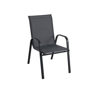 Style Selections Stackable Patio Chair - Black | Lowe's Canada