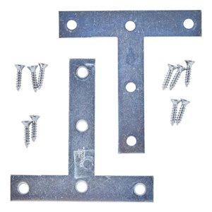 National Hardware 2-Pack 4-in x 4-in x 0.07-in Zinc Alloy T Plate Brackets