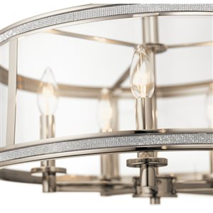 Kichler Angelica 20-in Polished Nickel Industrial Hardwired Single Clear Glass Cylinder Pendant