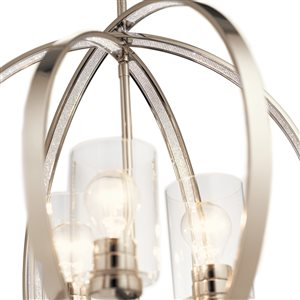 Kichler Angelica 20-in Polished Nickel Art Deco Hardwired Single Clear Glass Orb Pendant