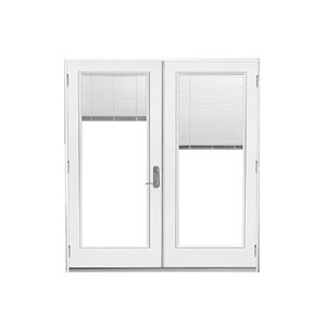 60-in x 80-in Blinds Between The Glass Primed Steel Left-Hand Outswing French Patio Door