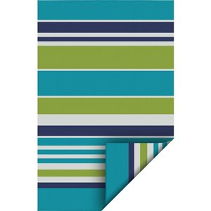 5-ft x 7-ft Blue Stripe Pure Plastic Outdoor Area Rug