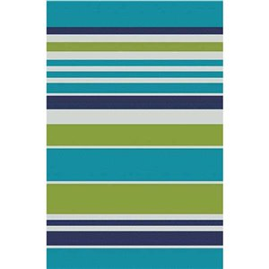 3-ft x 5-ft Blue Stripe Pure Plastic Outdoor Area Rug