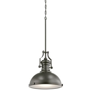 Kichler 12.2-in Bronze Industrial Hardwired Single Etched Glass Dome Standard Pendant