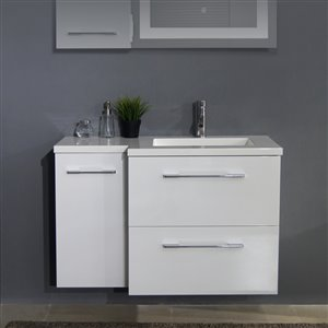 Bestview Melbourne 39-in Single Sink White Bathroom Vanity With Cultured Marble Top