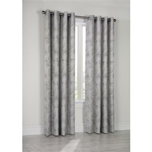 Thermalogic Elise Lined Jacquard Grommet Curtain 52in x 95in Charcoal