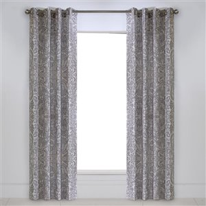 Legacy Kashmir Distressed F Linen Grommet Curtain 50 In. x 84 In. Paisley