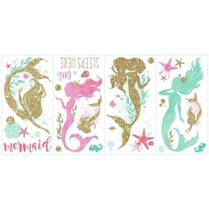 RoomMates Mermaids with Glitter Wall Decals