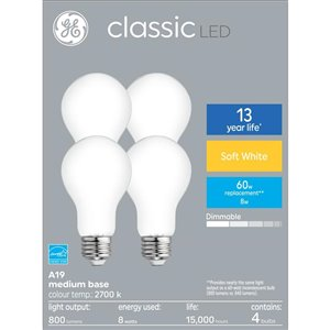 GE 8-Watt A19 Dimmable Soft White LED Light Bulb (4-Pack)