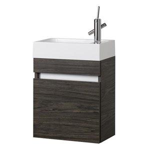 Cutler 18-in Single Sink Brown Bathroom Vanity With Cultured Marble Top