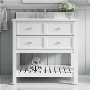 Scott Living Canterbury 36-in Single Sink White Bathroom Vanity With Engineered Stone Top