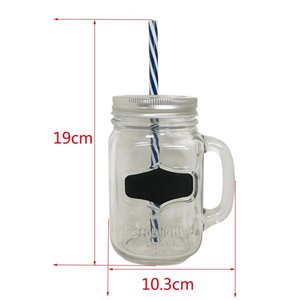 17-oz Glass Mason Jar with Blue Straw
