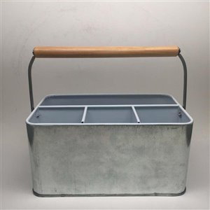 Galvanized Metal Cutlery Caddy with Wooden Handle