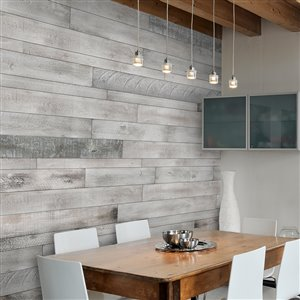AS-IS BRAND 5-in x 4-ft White-ISH Pine Wood Wall Plank