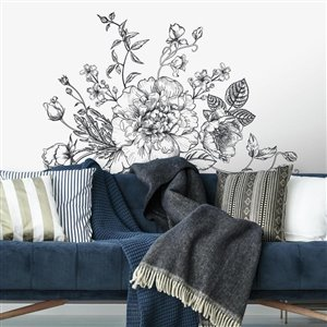 RoomMates Black and White Peony Giant Wall Decals