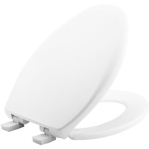 Mayfair White Plastic Elongated Slow-Close Toilet Seat
