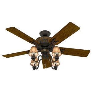 Hunter 52-in Adirondack Brittany Bronze Indoor 5 Blade Ceiling Fan