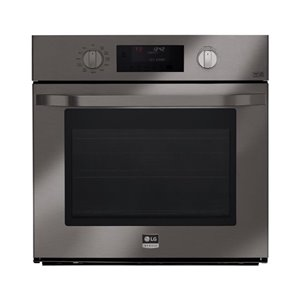 LG Studio 30-in Self-Cleaning Single Electric Wall Oven (Fingerprint-Resistant Black Stainless Steel)