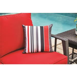 Garden Treasures 16-in Red Stripe Polyester Toss Pillow