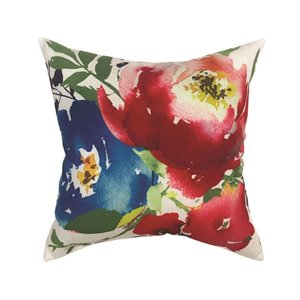 16-in Watercolor Floral Polyester Toss Pillow