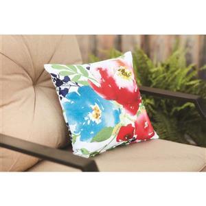 Garden Treasures 16-in Watercolor Floral Polyester Toss Pillow
