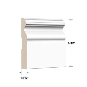 23/32-in x 4-3/4-in x 8-ft White MDF Baseboard Moulding