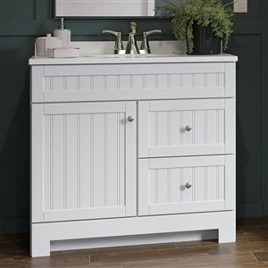 Style Selections Ellenbee 36-in White Bathroom Vanity Combo with Cultured Marble Top and Integral Single Sink