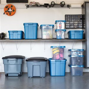 Centrex Plastics, LLC Rugged Tote 31-Gallon Blue Tote with Standard Snap Lid