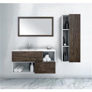 Cutler Kitchen & Bath 42-in Single Sink Brown Bathroom Vanity With Cultured Marble Top