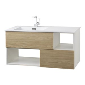 Cutler Kitchen & Bath 42-in Single Sink Beige Woodgrain Bathroom Vanity With Cultured Marble Top