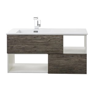 Cutler Kitchen & Bath 42-in Single Sink Medium Gray Woodgrain Bathroom Vanity With Cultured Marble Top