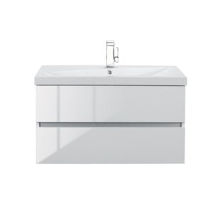 Cutler Kitchen & Bath Sangallo 36-in Single Sink White Bathroom Vanity With Cultured Marble Top
