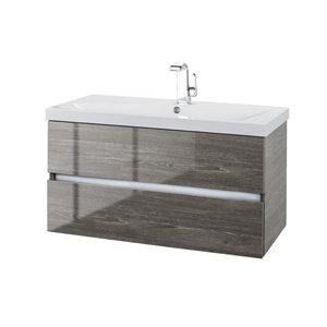Cutler Kitchen & Bath 36-in Single Sink Beige Woodgrain Bathroom Vanity With Cultured Marble Top