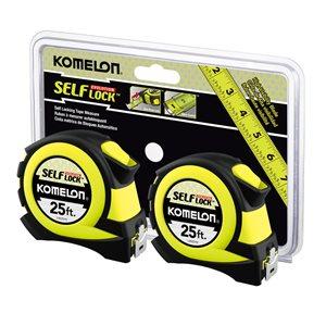 Komelon KOMELON 25ft Self-Lock Evolution Tape Measure Twin Pack (L4825HVTW)