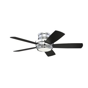Harbor Breeze Severn Falls 44-in Chrome 5-Blade Flush Mount Ceiling Fan with Light Kit