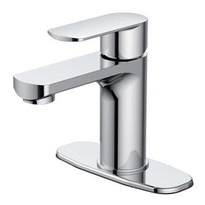 Jacuzzi Primo Chrome 1-Handle Single Hole 4-in Centerset WaterSense Bathroom Sink Faucet with Drain (Valve Included)