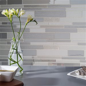Avenzo 12-in x 12-in Arctic Fog Marble Strip Mosaic Wall Tile