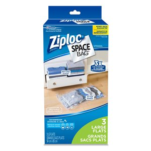 Ziploc Space Bag 3 Pack Large Flat Plastic Storage Bags