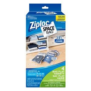 Ziploc Space Bag 4-Count Dual Use Flat Plastic Storage Bags