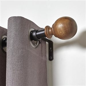 Umbra A+R 36-in to 72-in Black Wood Curved Curtain Rod
