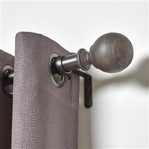 Umbra A+R 72-in to 144-in Pewter Wood Curved Curtain Rod