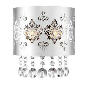 Ashley Harbour Chime 7.8-in W 2-Light Chrome Pocket Hardwired Wall Sconce