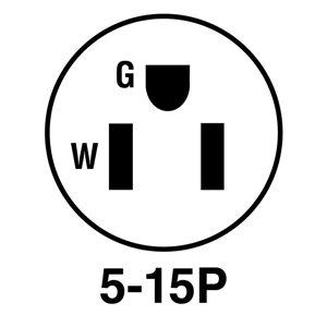 Legrand 15 Amp 125-Volt Black/White 3-Wire Grounding Plug