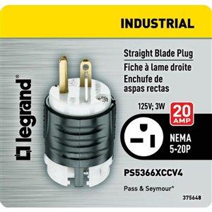 Legrand 20 Amp 125-Volt Black/White 3-Wire Grounding Plug
