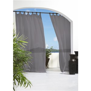 Outdoor Decor 84-in Charcoal Polyester Top Tab Light Filtering Sheer Single Curtain Panel