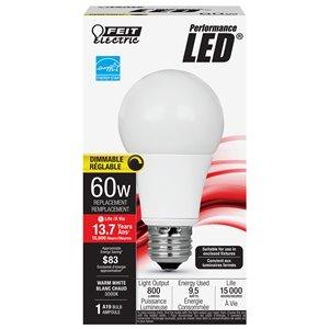 Feit Electric 60-Watt/800 Lumens Medium Base (E-26) Dimmable A19 LED Light Bulb (1-Pack)