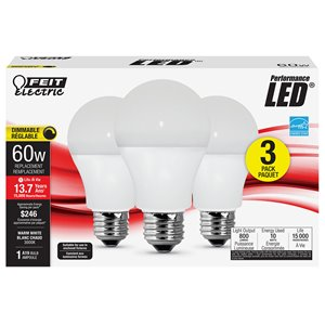Feit Electric 60-Watt/800 Lumens Medium Base (E-26) Dimmable A19 LED Light Bulb (3-Pack)